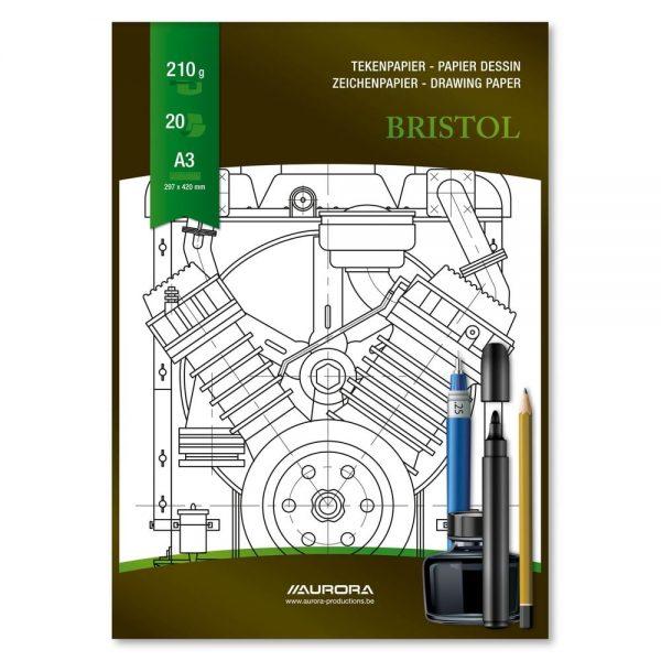 Bloc desen A3, 20 file - pentru schite creion/marker, AURORA Bristol