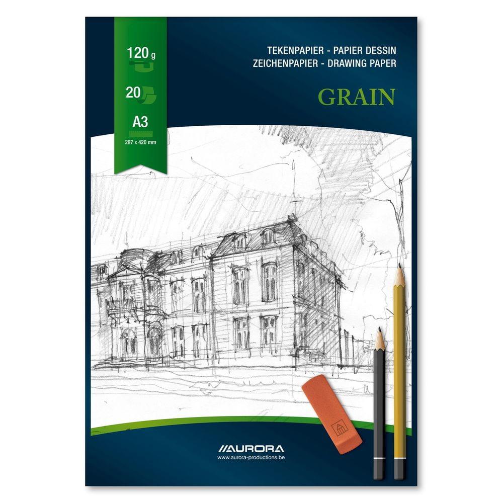 Bloc desen A3, 20 file, AURORA Grain - carton alb
