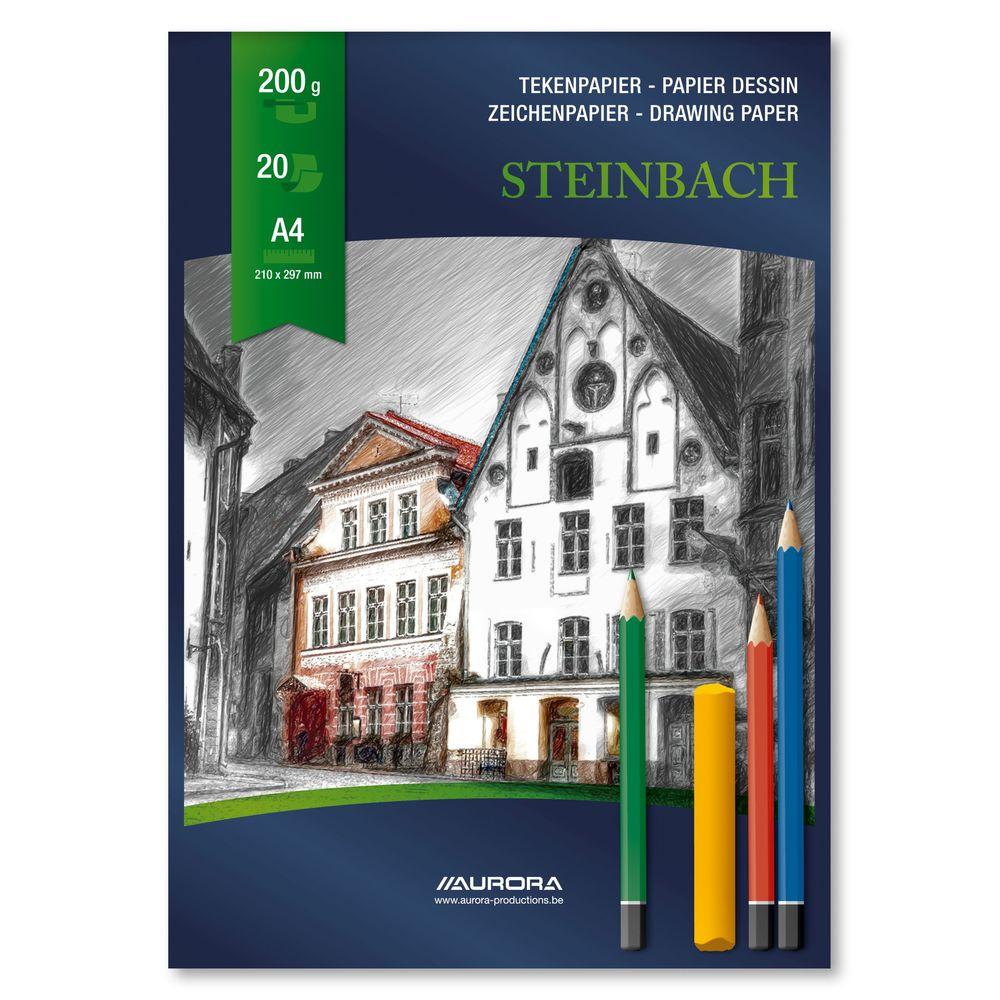 Bloc desen A4, 20 file - 200g/mp, AURORA Steinbach - carton alb