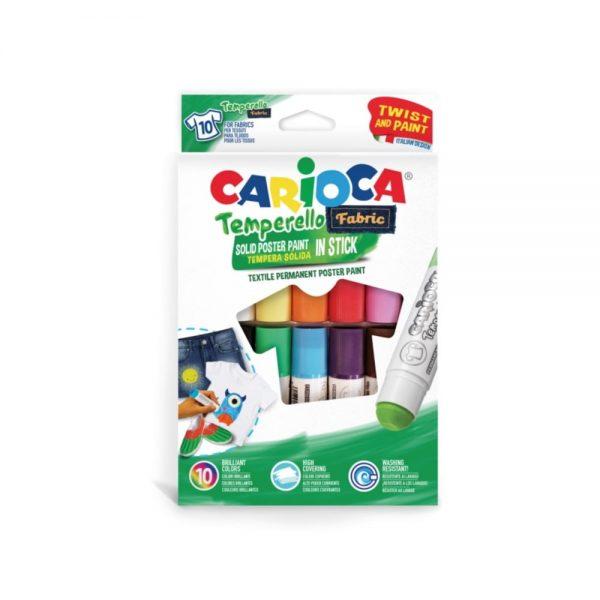 Creioane tempera, pentru textile, rezistente la spalat, 10 culori/cutie, CARIOCA Temperello Fabric