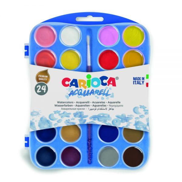 Acuarele lavabile, 24 culori/cutie + 2 pensule, CARIOCA Aquarell