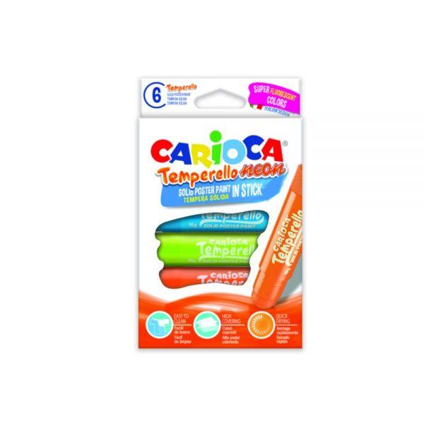 Creioane tempera fluorescente, lavabile, 6 culori/cutie, CARIOCA Temperello Neon