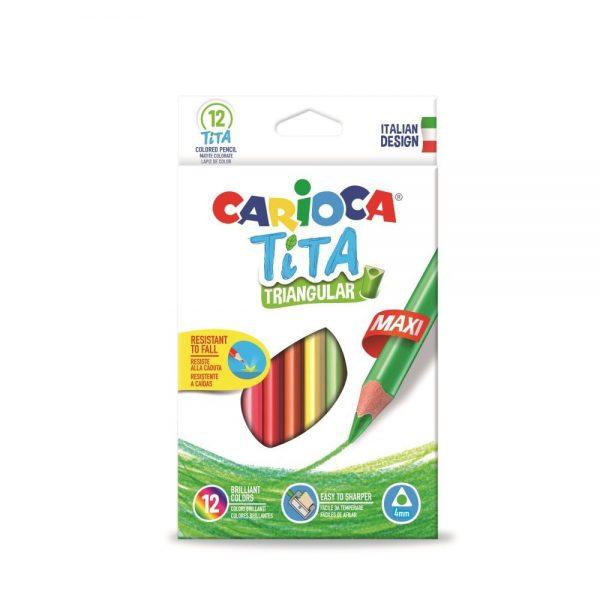 Creioane colorate CARIOCA Tita Maxi, hexagonale, flexibile, 12 culori/cutie