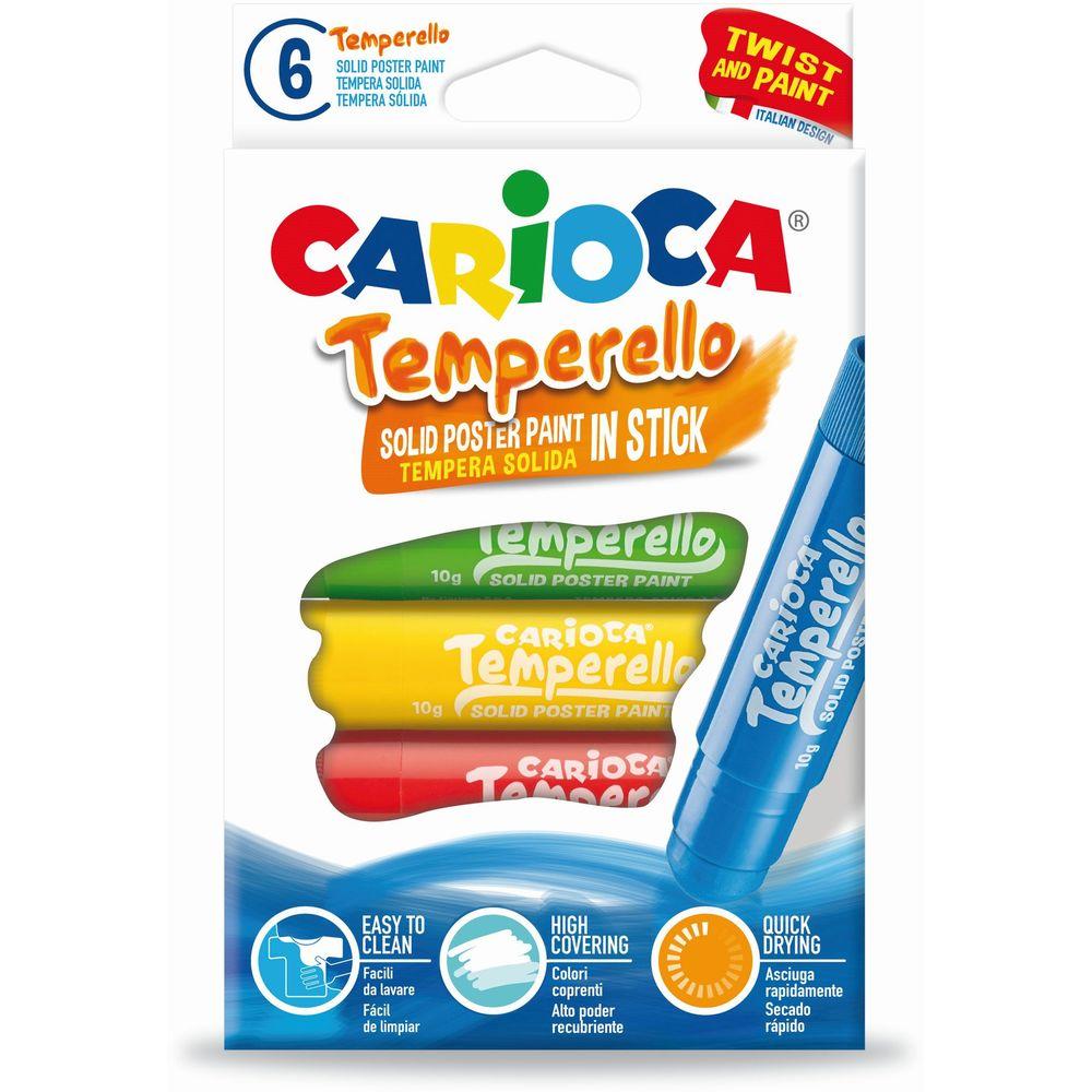 Creioane tempera lavabile, 6 culori/cutie, CARIOCA Temperello