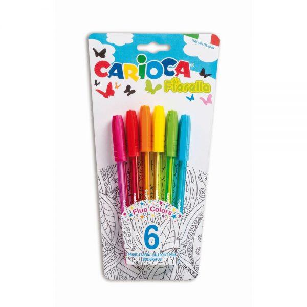 Pix cu cerneala fluorescenta, 6 buc/blister, CARIOCA Fiorella