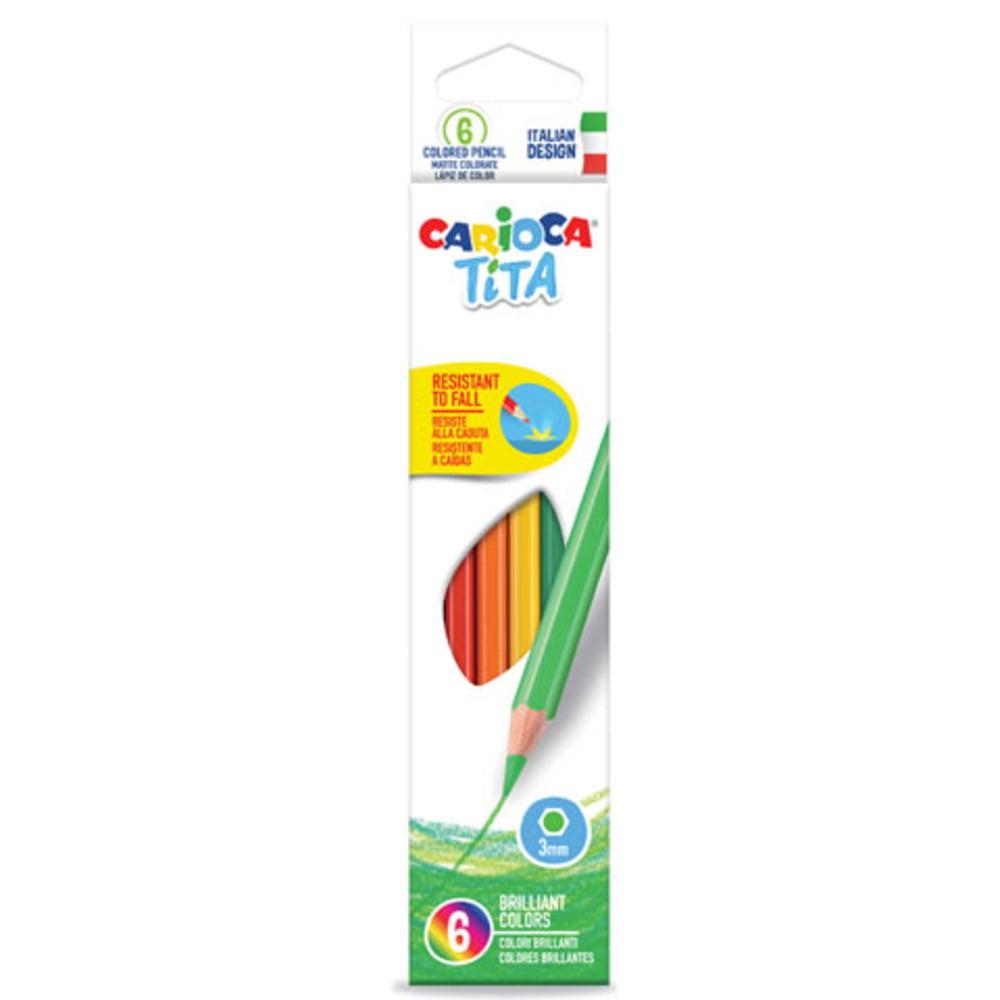 Creioane colorate CARIOCA Tita, hexagonale, flexibile, 6 culori/cutie