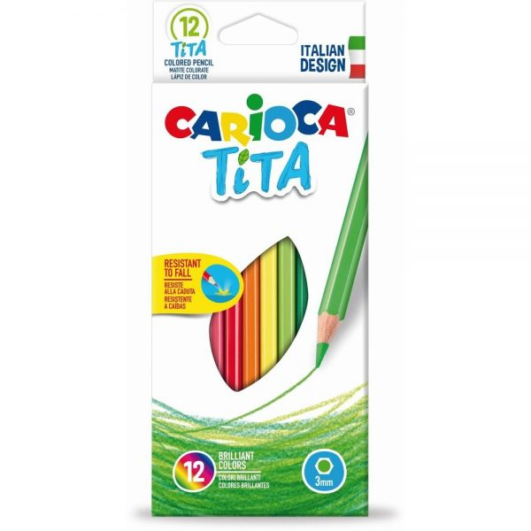 Creioane colorate CARIOCA Tita, hexagonale, flexibile, 12 culori/cutie