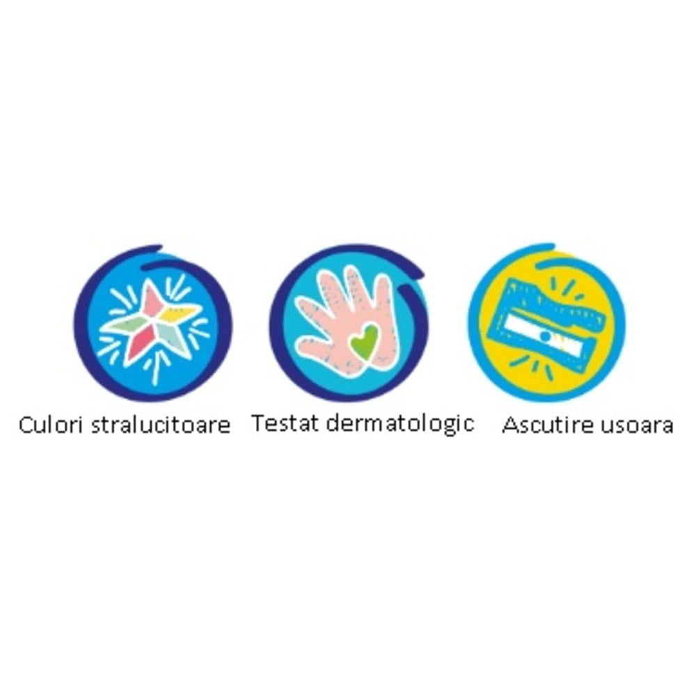 Creioane colorate CARIOCA Baby 1+, 3 in 1, 6 culori/cutie, ascutitoare inclusa