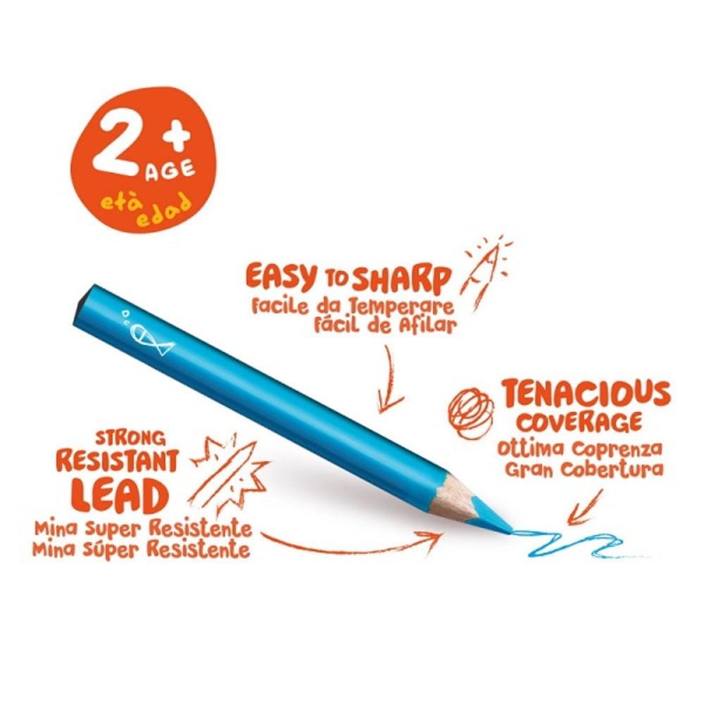 Creioane colorate CARIOCA Baby 2+, triunghiulare, 10 culori/cutie