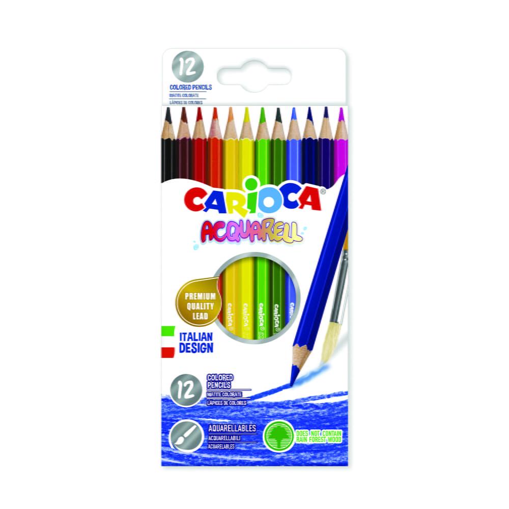 Creioane colorate CARIOCA Acquarell, hexagonale, 12 culori/cutie - cutie carton