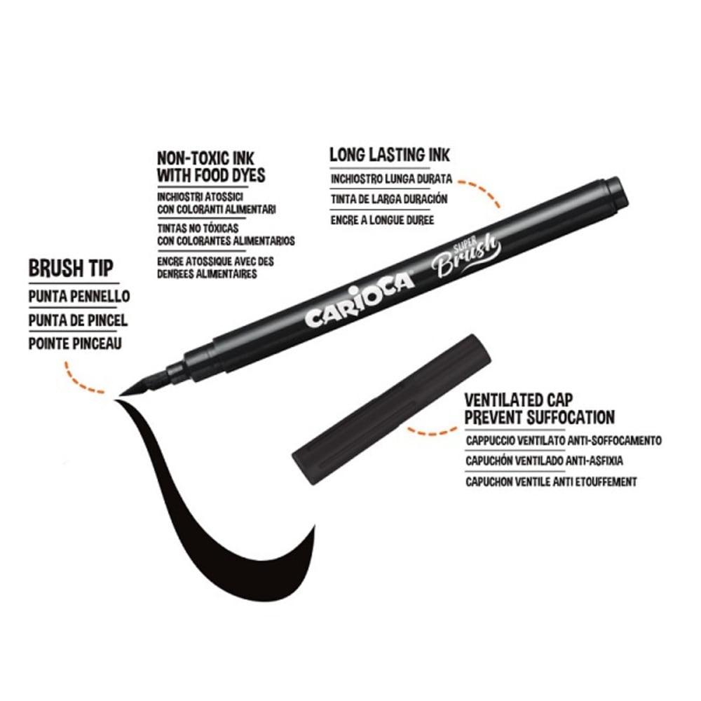 Carioca, varf flexibil - 1-6mm (tip pensula), 10 culori/cutie, CARIOCA Super Brush