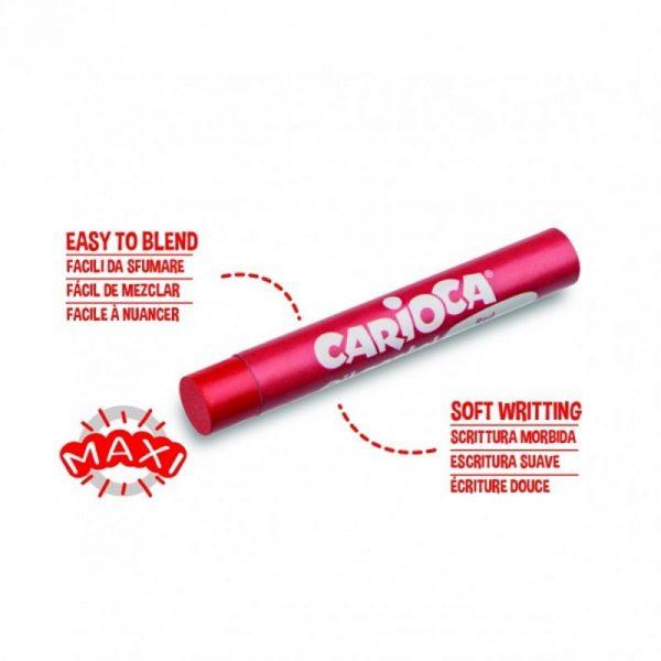 Creioane cerate rotunde, D-10mm, 12 culori/cutie, CARIOCA Oil Pastel Crayons Maxi