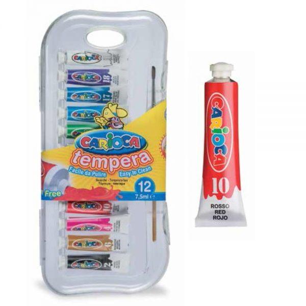 Tempera lavabila, 12 culori x 7.5ml/set + pensula gratis, CARIOCA Tempera
