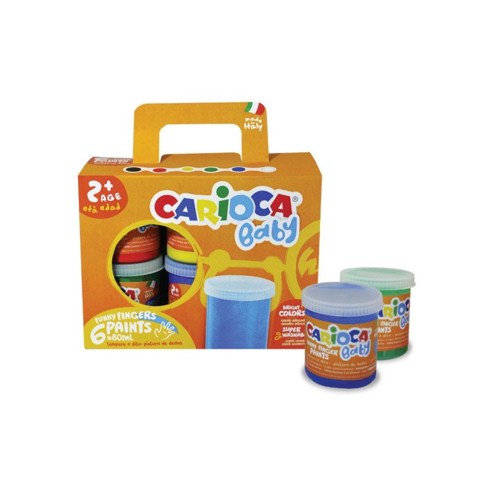 Tempera super lavabila, pentru pictura cu mana, 6 culori x 80ml/set, CARIOCA Baby Finger Paint 2+