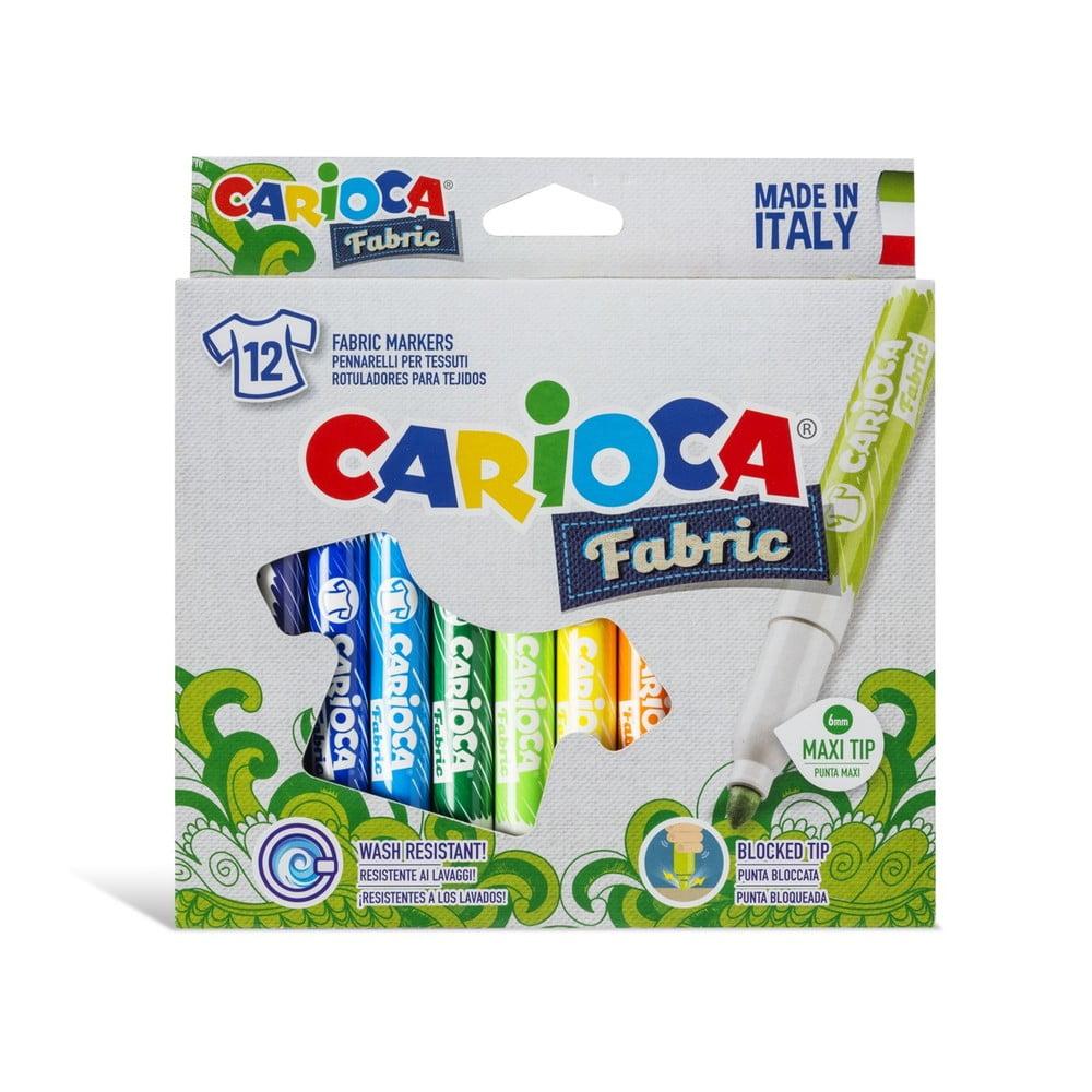 Carioci pentru textile, varf gros 6mm, 12 culori/cutie, CARIOCA