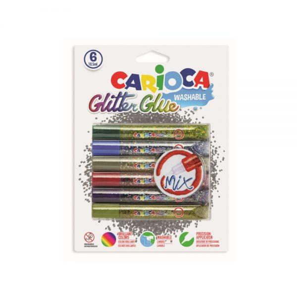 Lipici Glitter lavabil, 6 culori/blister, CARIOCA Glitter Glue Mix