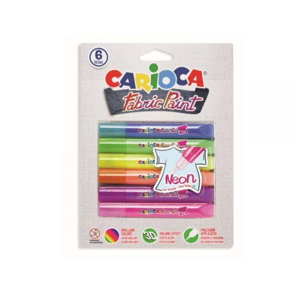 Vopsea pentru textile, rezistanta la spalare, 6 culori/blister, CARIOCA Fabric Paint - Neon