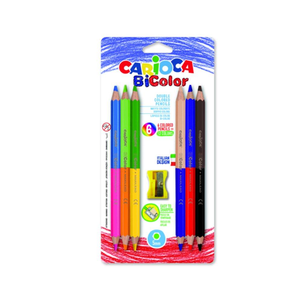 Creioane colorate CARIOCA BiColor Maxi, hexagonale, bicolore, 6 buc/blister, ascutitoare inclusa