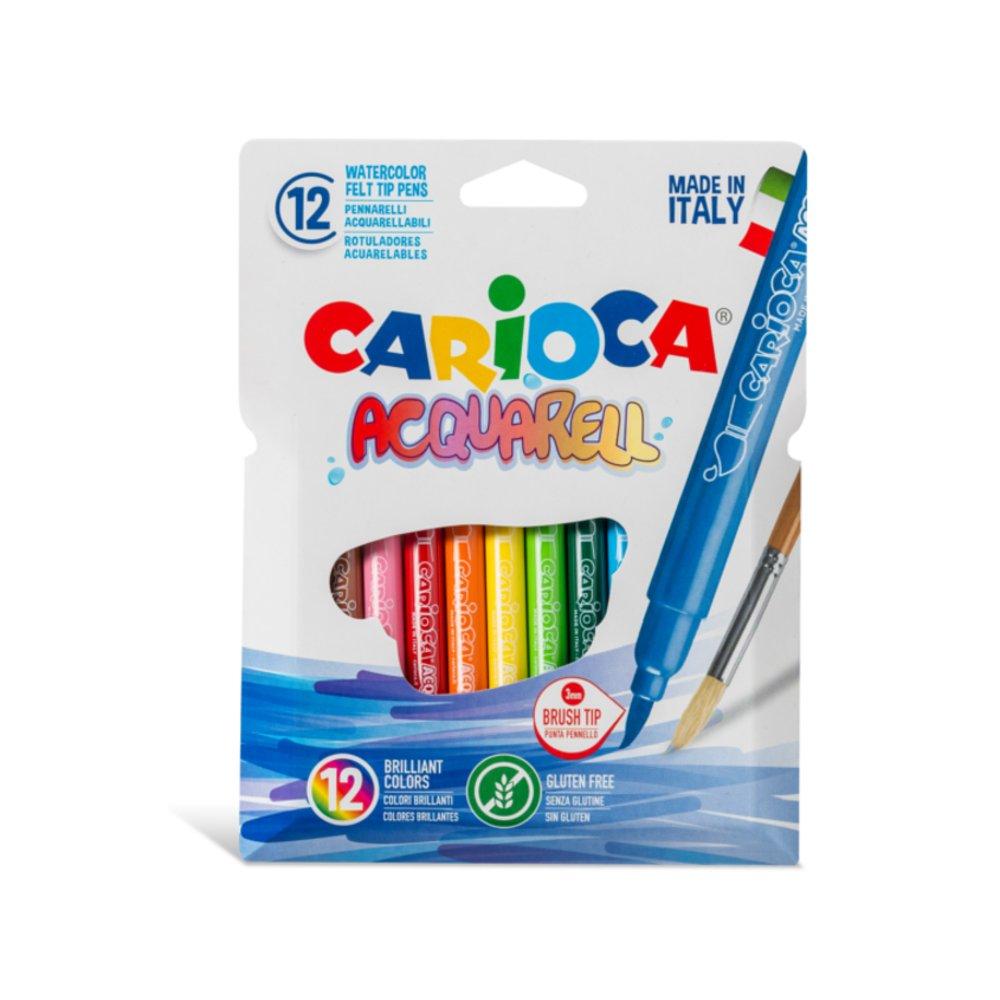 Carioca, varf flexibil - 3mm (tip pensula), 12 culori/cutie, CARIOCA Acquarell