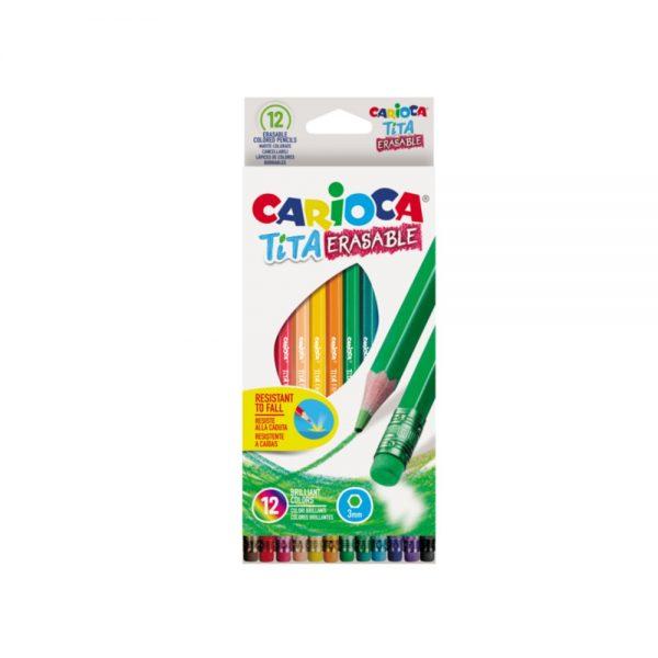 Creioane colorate CARIOCA Tita Erasable, hexagonale, flexibile, erasable, 12 culori/cutie, cu guma