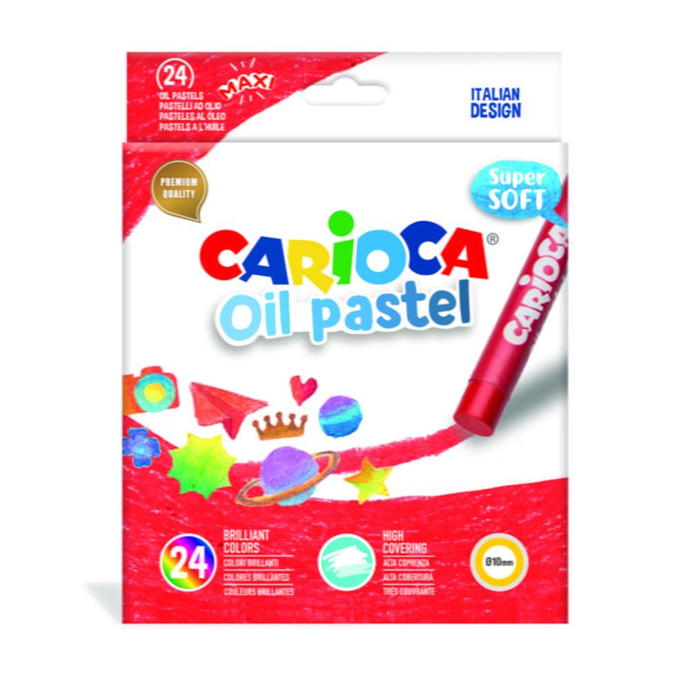 Creioane cerate rotunde, D-10mm, 24 culori/cutie, CARIOCA Oil Pastel Crayons Maxi