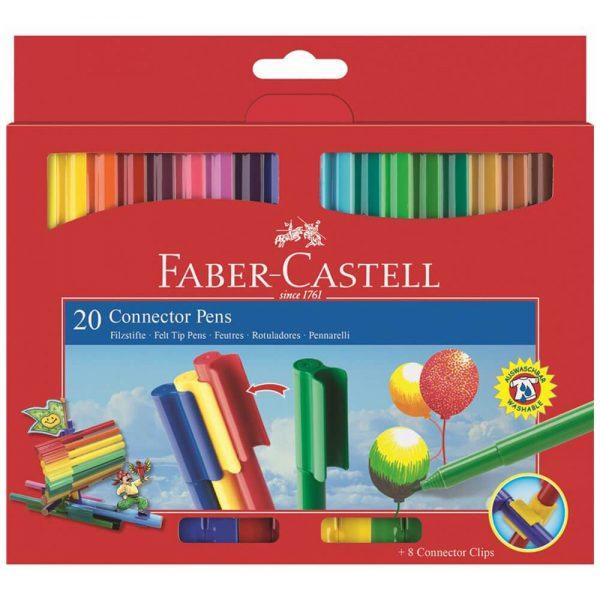 Carioci cu clip 20 culori/set Connector FABER-CASTELL