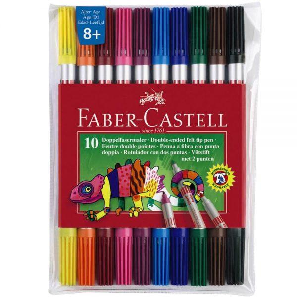 Carioci cu 2 capete 10 culori/set FABER-CASTELL