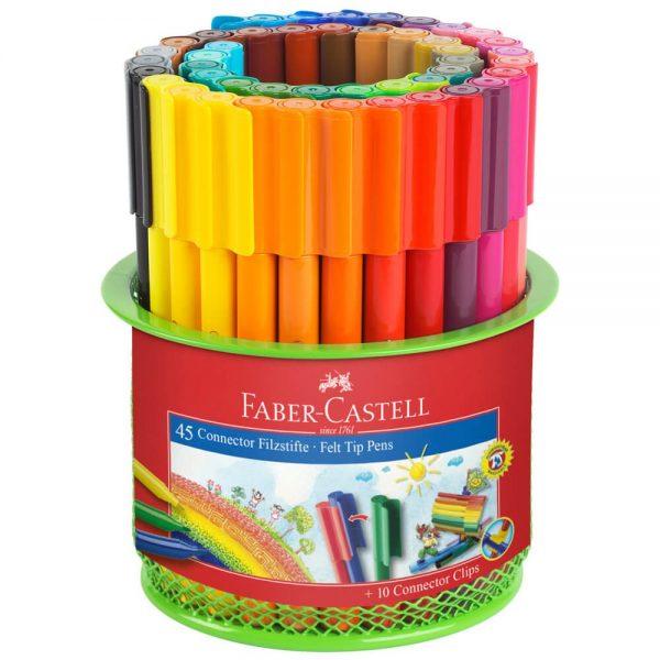 Carioci cu clip 45 culori cu suport Mesh Connector FABER-CASTELL