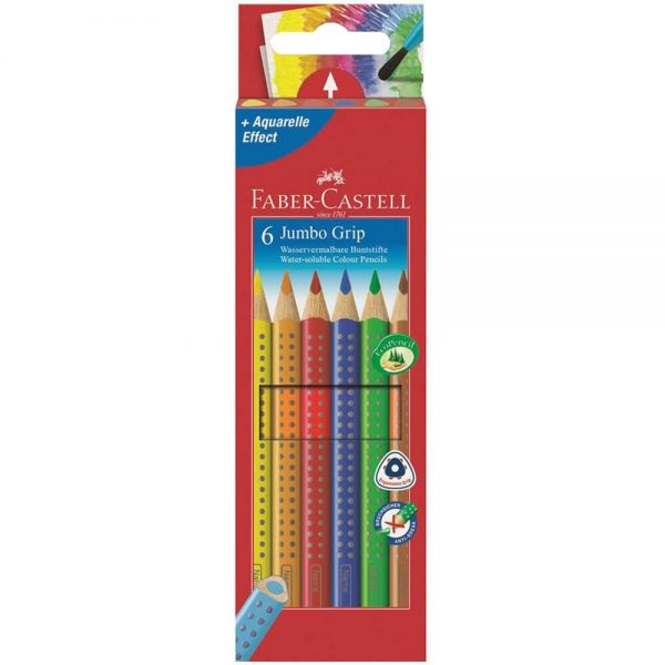 Creioane colorate Jumbo 6 culori/set FABER-CASTELL Grip