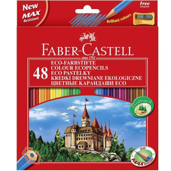 Creioane colorate 48 culori + ascutitoare eco L FABER-CASTELL