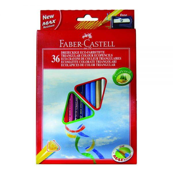 Creioane colorate triunghiulare cu ascutitoare Eco 36 culori Faber-Castell