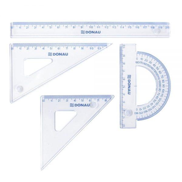 Set geometrie mic, contine: rigla 20cm, raportor, echer 10.5cm si echer 15cm, DONAU -transparent