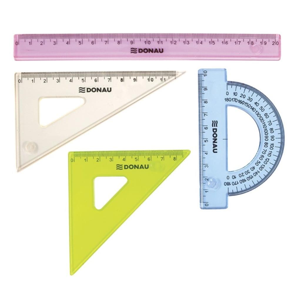 Set geometrie mic, contine: rigla 20cm, raportor, echer 10.5cm si echer 15cm, DONAU -culori asortate