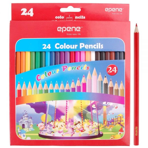 Creioane colorate corp hexagonal, 24 culori/cutie, EPENE