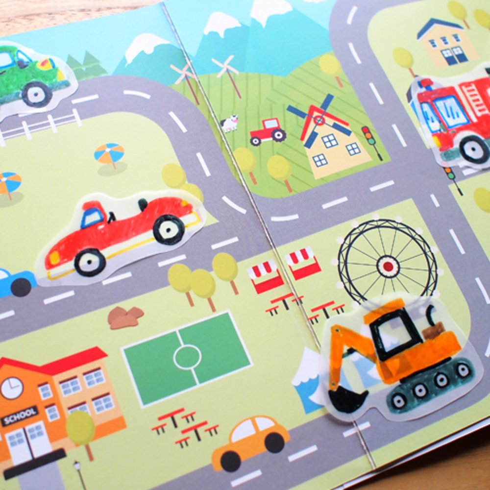 "Carte de colorat educativa Stick""n Tracing Work Book - Vehicles Parade"