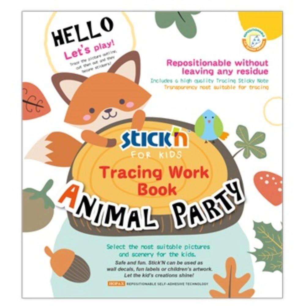 """Carte de colorat educativa Stick""""n Tracing Work Book - Animal Party"""