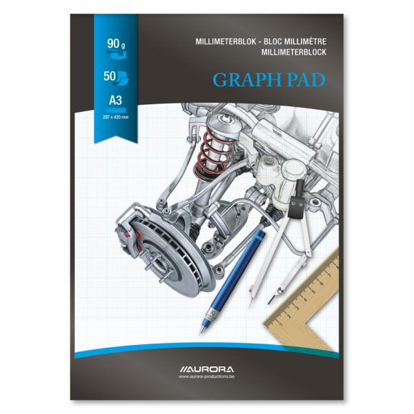 Hartie milimetrica A3, 50 file - 90g/mp, AURORA Raphael - fond albastru