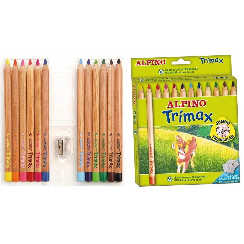 Creioane colorate triunghiulare,12 culori/set, ALPINO Trimax Jumbo