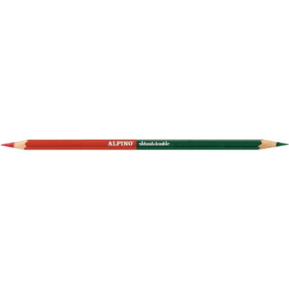 Creioane colorate bicolore, cutie carton, 12 buc/24 culori/set, ALPINO Double Double