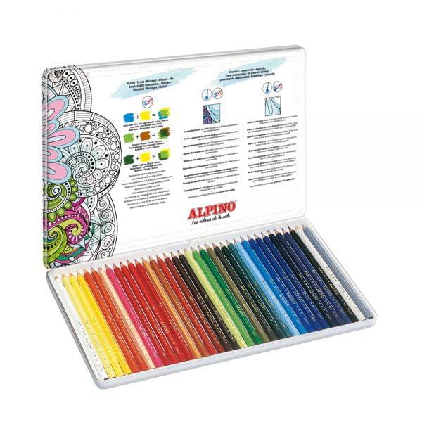 Creioane colorate acuarela, cutie metal, 36 culori/set, ALPINO Aquarelle