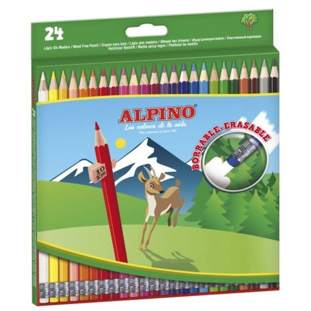 Creioane colorate cu guma, cutie carton, 24 culori/set, ALPINO Erasable
