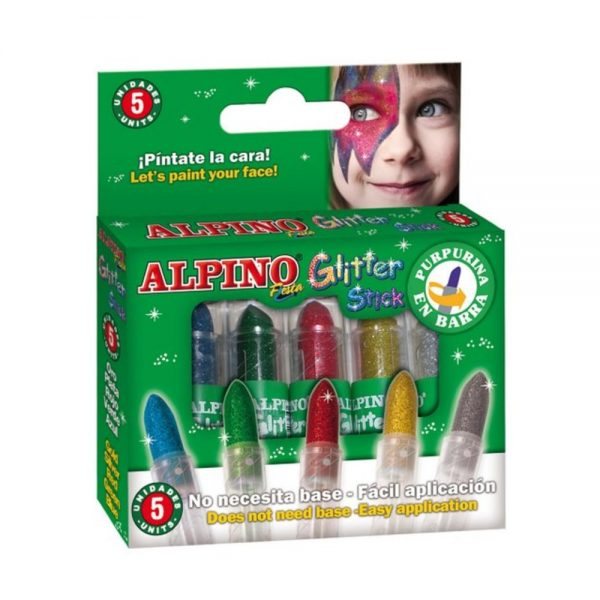 Set 5 culori machiaj, ALPINO Glitter Sticks - asortate