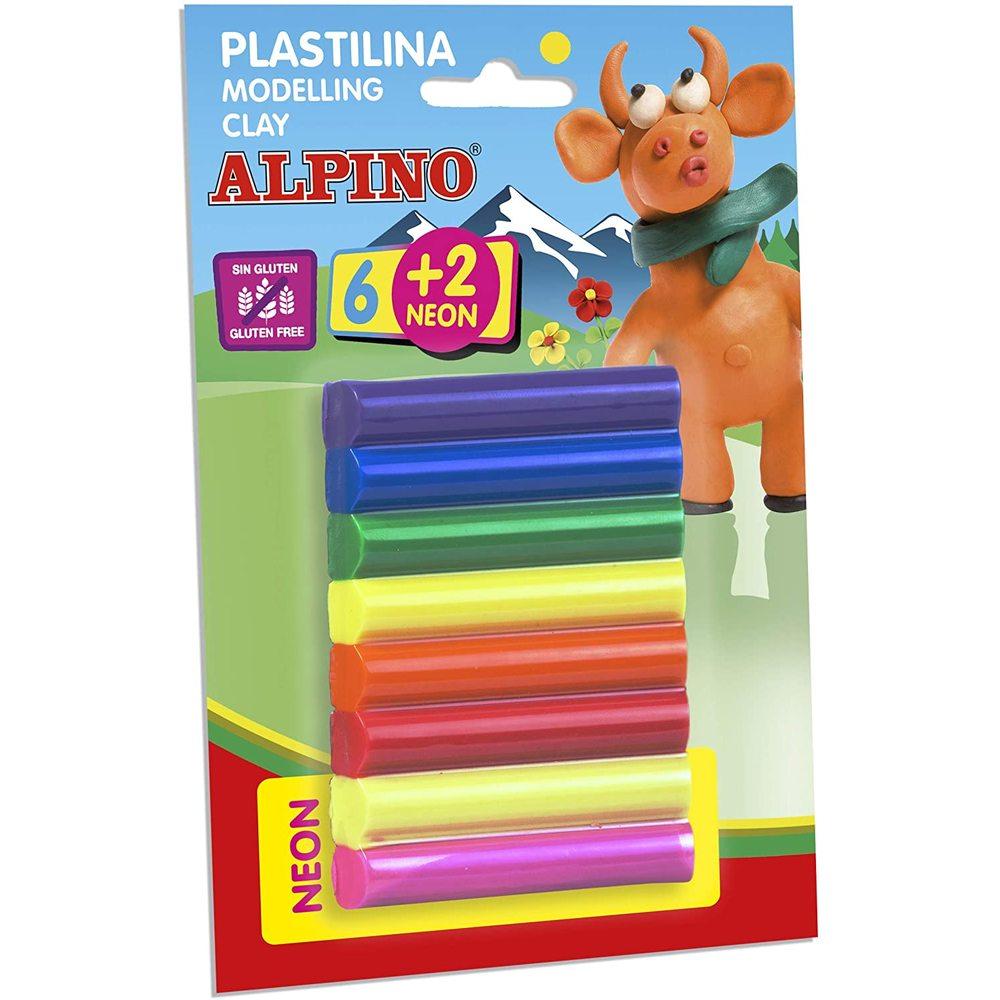 Plastilina standard 6 + 2 neon x 17 gr./blister, ALPINO - 8 culori asortate
