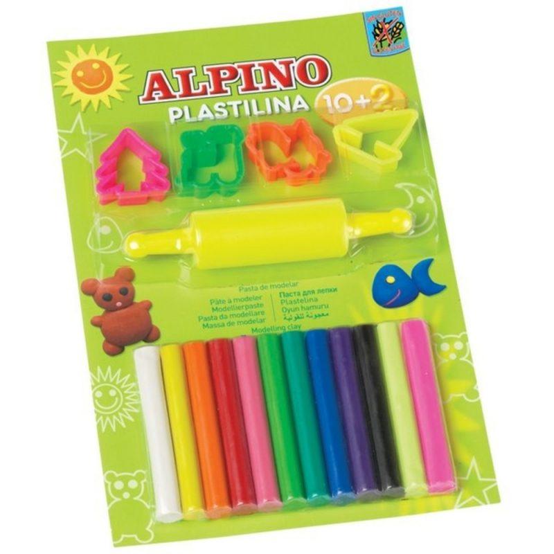 Kit 10 +2 culori plastilina + 4 forme modelaj + roller, in blister, ALPINO