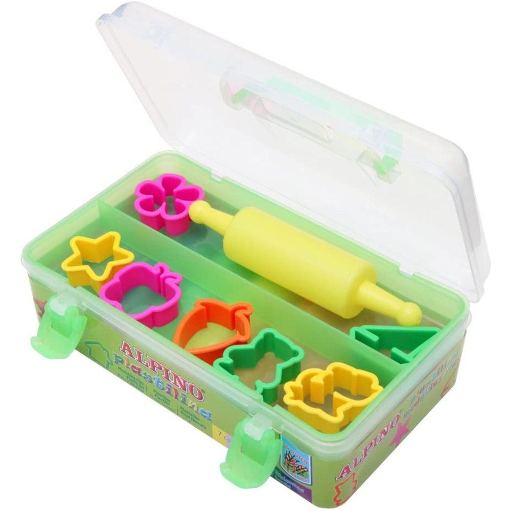 Kit 7 culori plastilina + 7 forme modelaj + roller, ALPINO