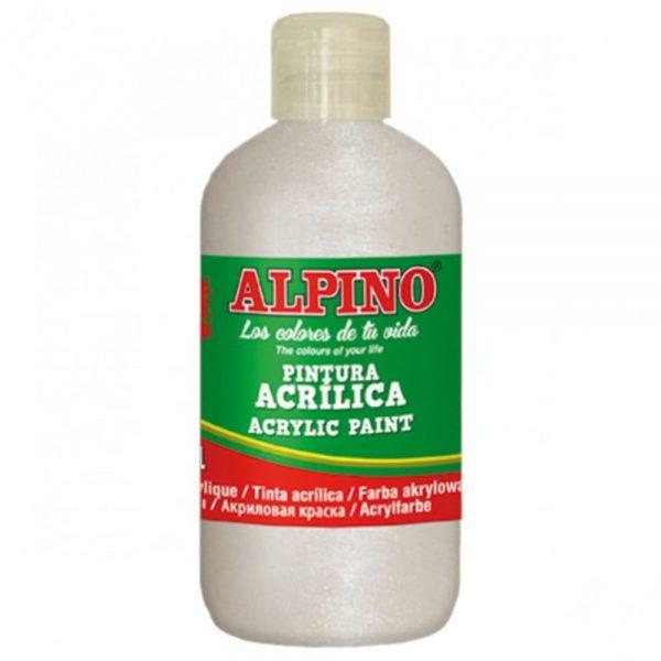 Vopsea acrilica rezistenta la apa, 250ml, ALPINO - alb metalizat