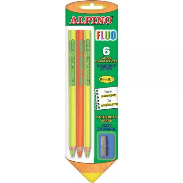 Creioane colorate fluorescente, 6 culori/blister + ascutitoare, ALPINO Fluo