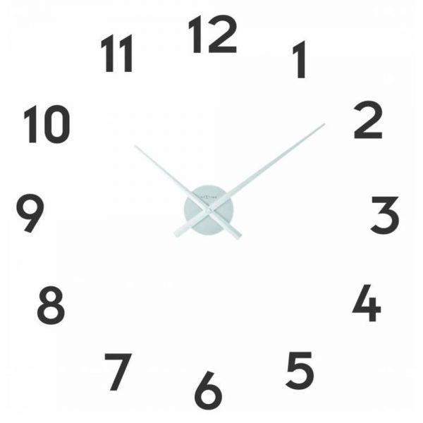 "Ceas de perete, D-48 cm x 3 cm, cifre arabe, aluminiu, NeXtime - ""Small Hands"", argintiu"