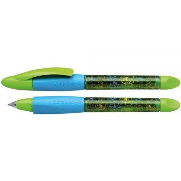 Roller cu cartus SCHNEIDER Base Ball, rubber grip, corp verde/albastru, cu decor - scriere albastra