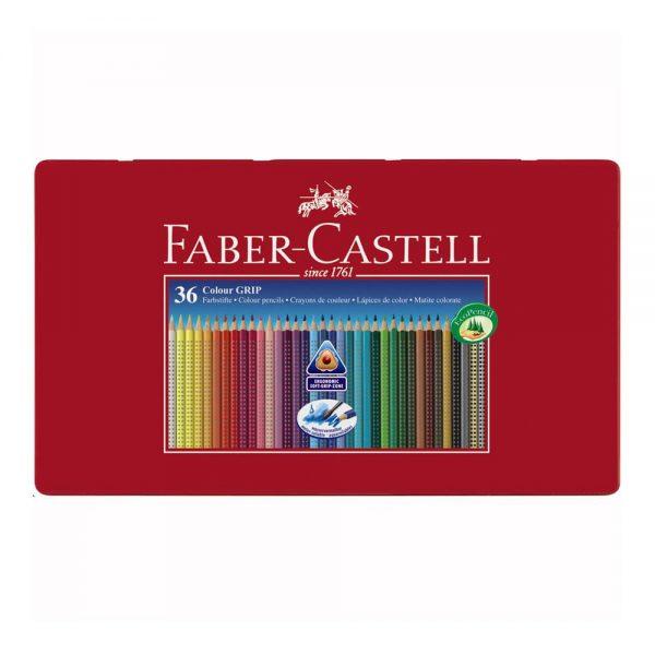 Creioane colorate 36 culori/set FABER-CASTELL Grip 2001, cutie metal